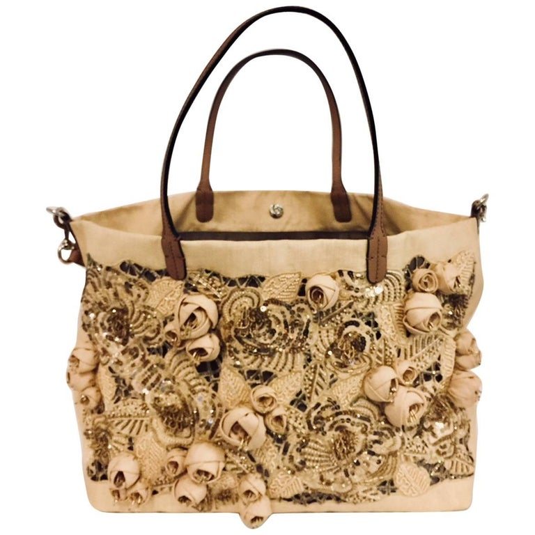 Very Valentino Beige Canvas Sequin Beaded Floral Applique Large Tote