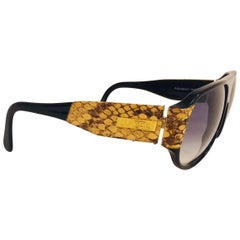 Vintage YSL Black Sunglasses With Brown and Beige Python Accents