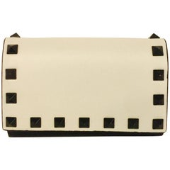 Vivacious Valentino Bi-Color Rockstud Vitello Leather Wallet With Card Case