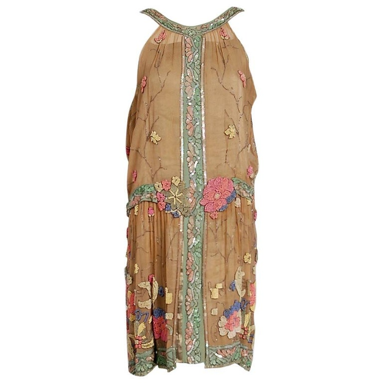 Henri Bendel Couture Beaded Floral Silk and Lame Flapper Art Deco Dress, 1925