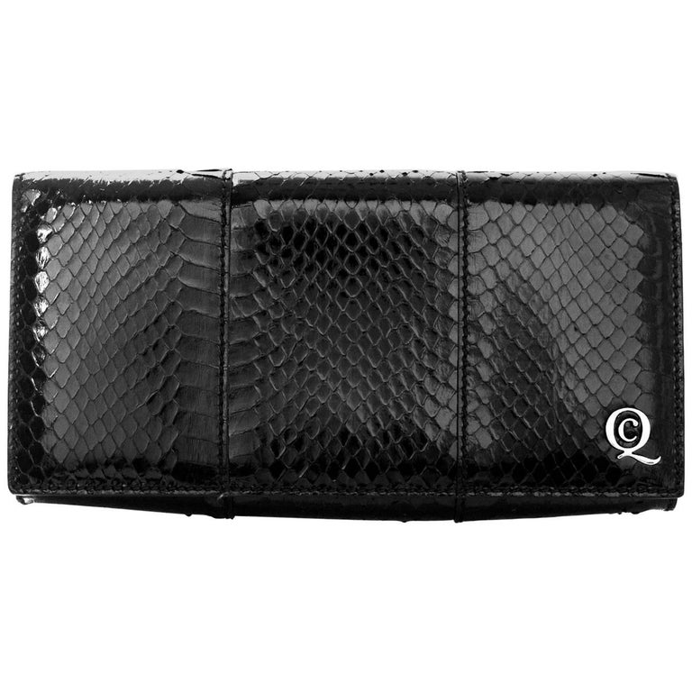 Alexander McQueen Black Python Clutch Bag For Sale