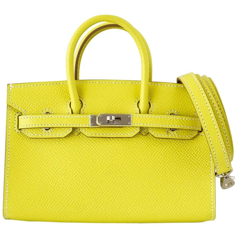 Hermes Birkin Bag Tiny Miniature Micro Lime Limited Edition  rare For Sale