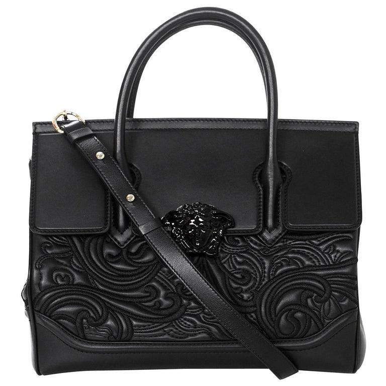 7f9ea19f920b Versace Black Medium Baroque Empire Palazzo Bag - NWT For Sale at ...