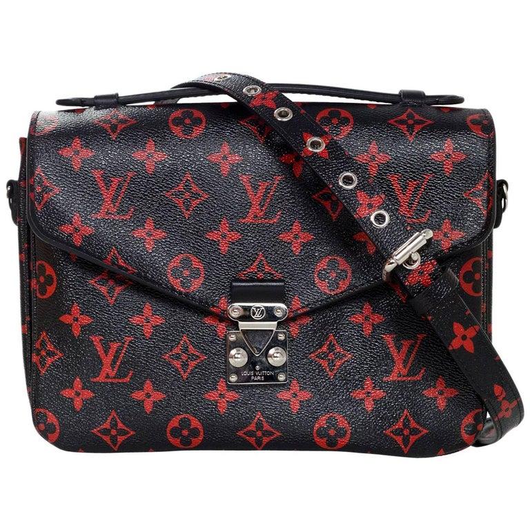 853b55f4198c Louis Vuitton Black and Red Monogram Infrarouge Pochette Metis Messenger Bag  For Sale at 1stdibs
