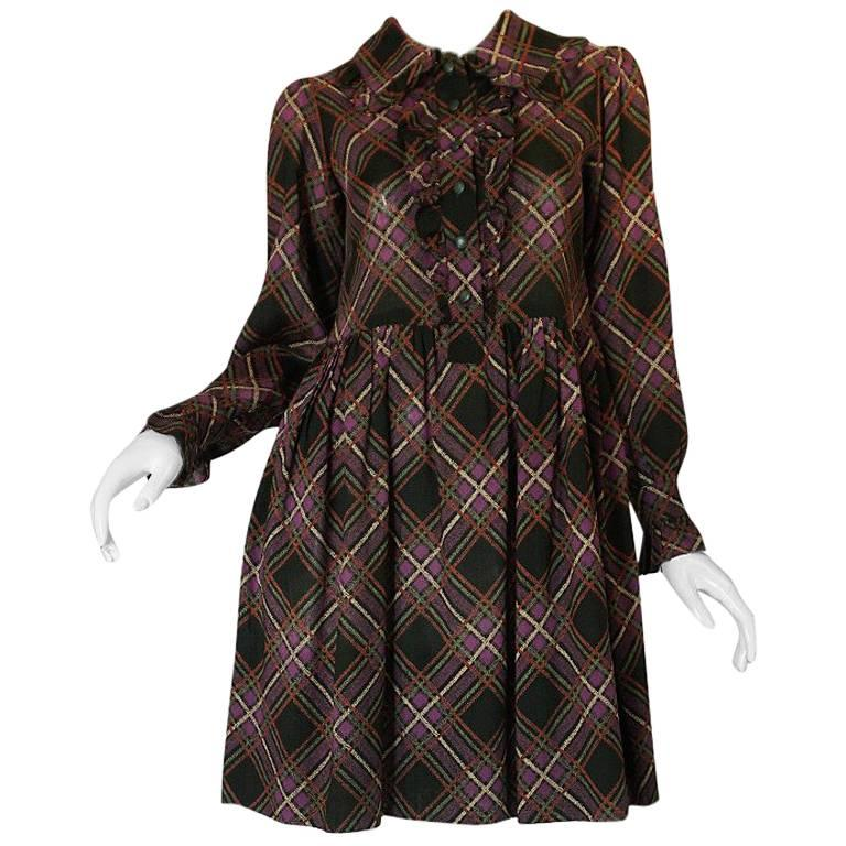 1970s Yves Saint Laurent Ruffled Front Baby Doll Plaid Dress 1