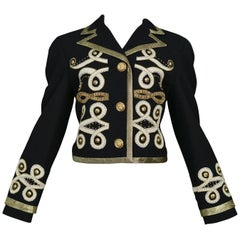 Vintage Gianni Versace Baroque Metallic Applique & Gold Studded Jacket