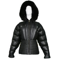 Gianni Versace Vintage Black Leather Puffer Coat with Fur Hood Runway, 1992