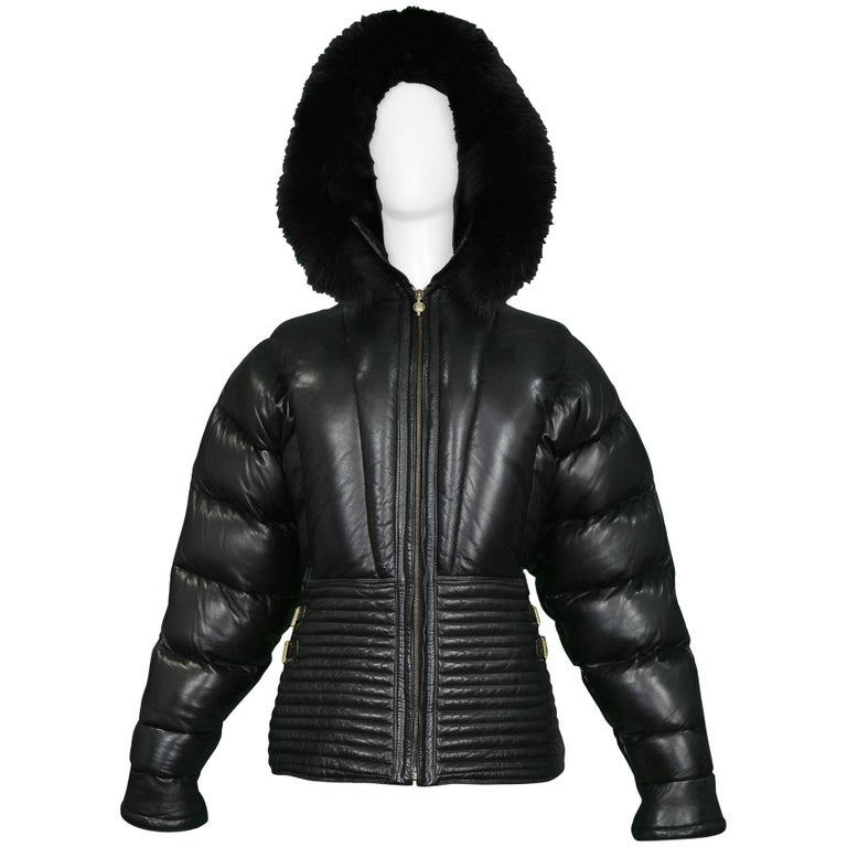 Gianni Versace Vintage Leather Puffer Coat with Fur Hood Runway, 1992