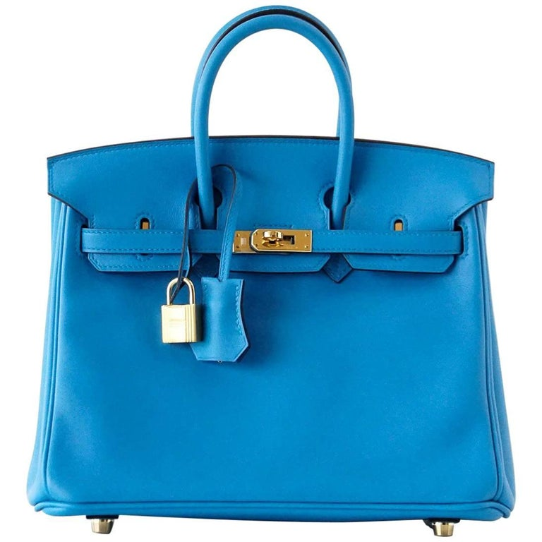 Hermes Birkin Bag 25 Blue Zanzibar Swift Gold Hardware