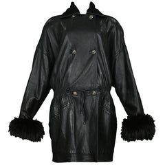 Vintage Gianni Versace Black Leather Parka Coat with Fur Cuffs & Collar