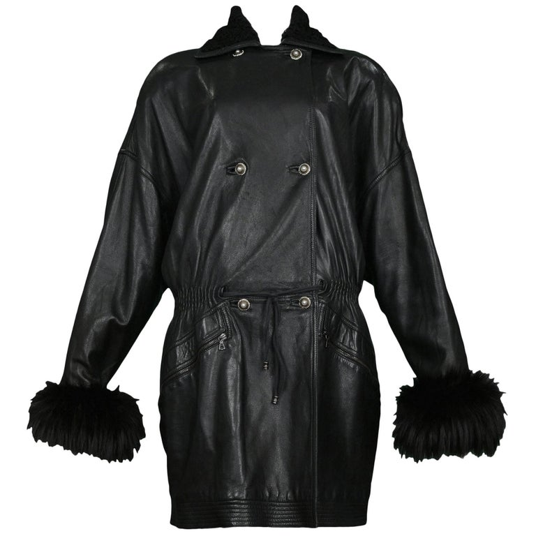 Vintage Gianni Versace Black Leather Parka Coat with Fur Cuffs & Collar For Sale