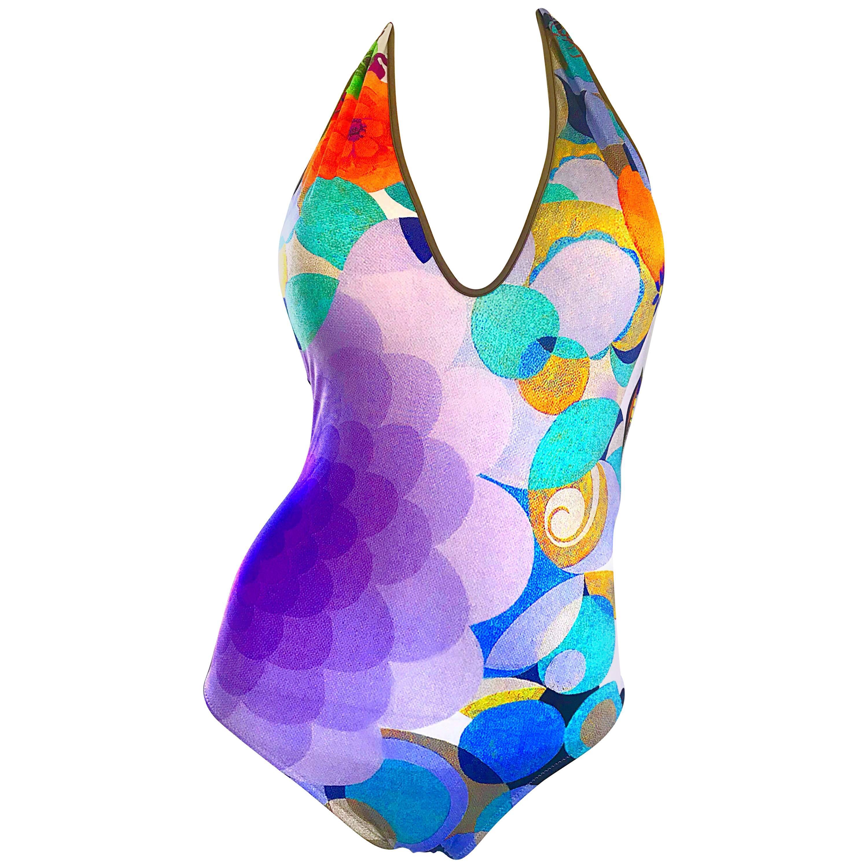 NWT 1990s La Perla Size 8 Op Art Halter Neck 90s One Piece Swimsuit / Bodysuit