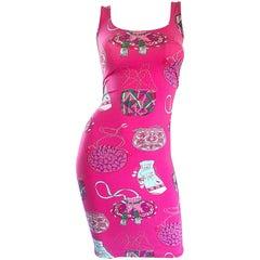 New Manuel Canovas 1990s Hot Pink Purse Handbag Novelty Print 90s Bodycon Dress