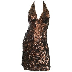 Mikael Aghal Chocolate Brown Sequin Stretch Jersey Sexy Halter Cocktail Dress