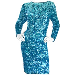 Gorgeous Size 12 - 14 Vintage Turquoise Blue Long Sleeve 90s Fully Sequin Dress