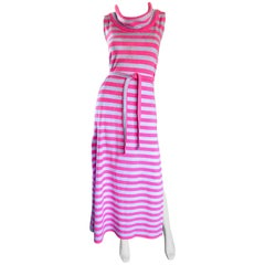 1970s Pierre Cardin Hot Pink Blue Striped Terry Cloth Belted Vintage Maxi Dress