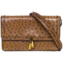Hermes Vintage Brown Ostrich Clutch/Shoulder Bag w. Tassel Detail