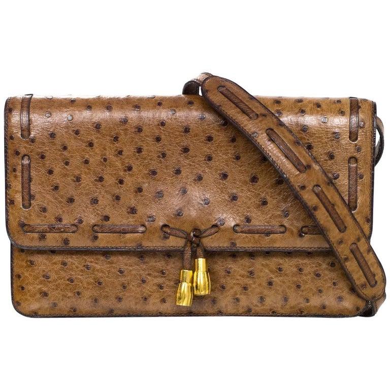 hermes vintage brown ostrich clutch shoulder bag w tassel detail at 1stdibs. Black Bedroom Furniture Sets. Home Design Ideas