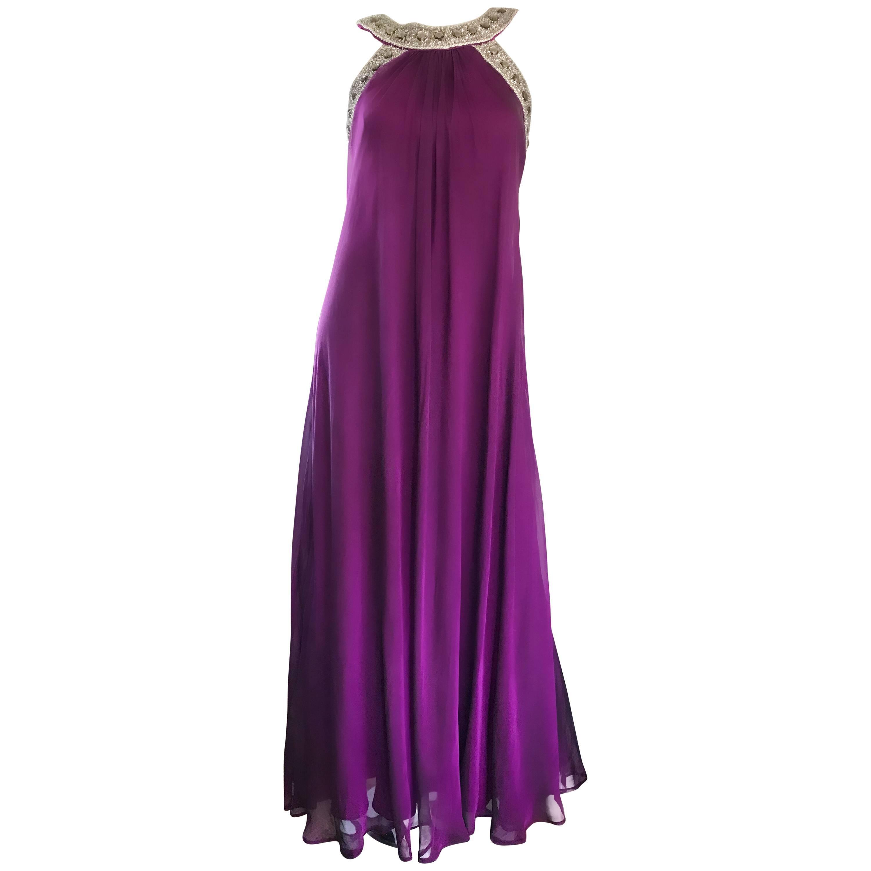 1990s Badgley Mischka Sz 4 6 Purple Silk Chiffon Rhinestone Vintage Grecian Gown
