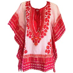 1970s Biba Hot Pink + Orange + Red Boho Ethnic Cotton Caftan Vintage Tunic Top