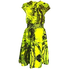 NWT Astier Neon Yellow + Gray + Black Novelty Print Naked Women Silk Dress