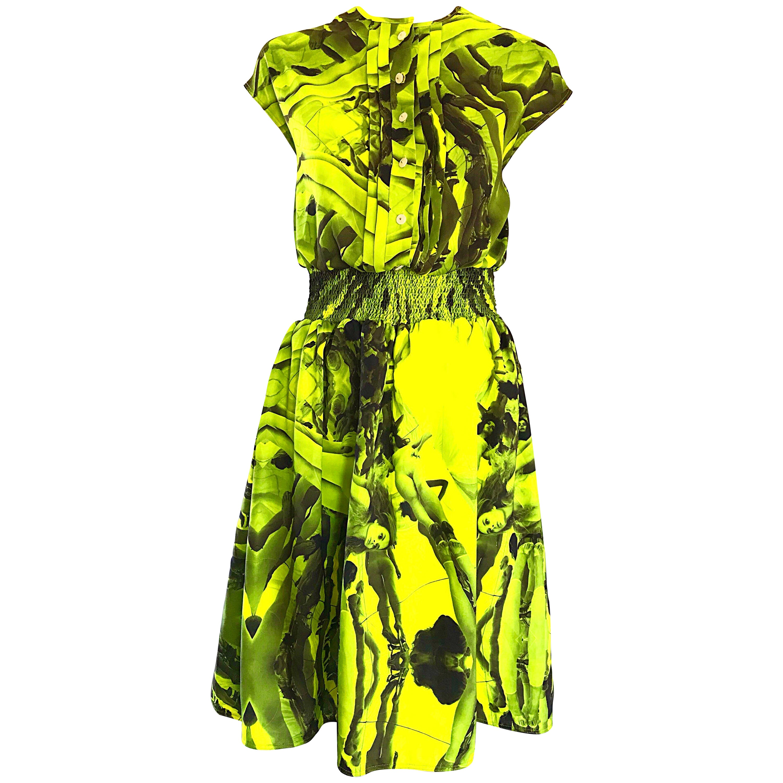 NWT Astier Neon Yellow + Gray + Black Novelty Print Naked Women Silk Dress