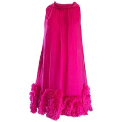 1960s Demi Couture Hot Pink Silk Chiffon Trapeze Empire Waist Babydoll Dress