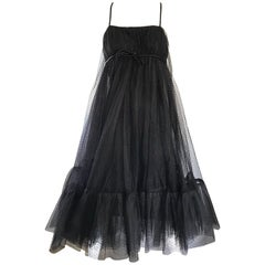 Sensational 1960s Suzy Perette Black Silk + Tulle Trapeze Empire Babydoll Dress