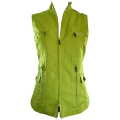 New 1990s Carolina Herrera Lime Green Silk + Cotton Sleeveless Vintage 90s Vest