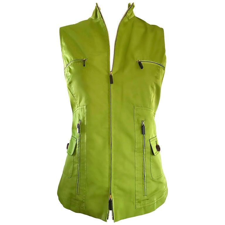 New 1990s Carolina Herrera Lime Green Silk + Cotton Sleeveless Vintage 90s Vest