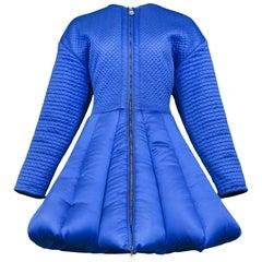 Superb Vintage Gianni Versace Blue Satin Quilted Coat Runway 1992 Museum Caliber