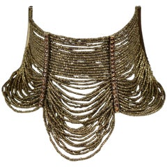 """Famous Dior By John Galliano """"Masai"""" Antique Gold Beaded & Rhinestone Necklace"""