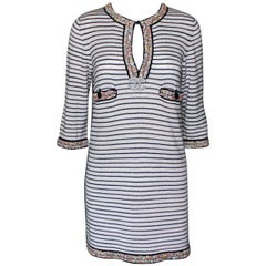 Wonderful Striped Multicolor Chanel Beaded Cashmere Mix Mini Dress