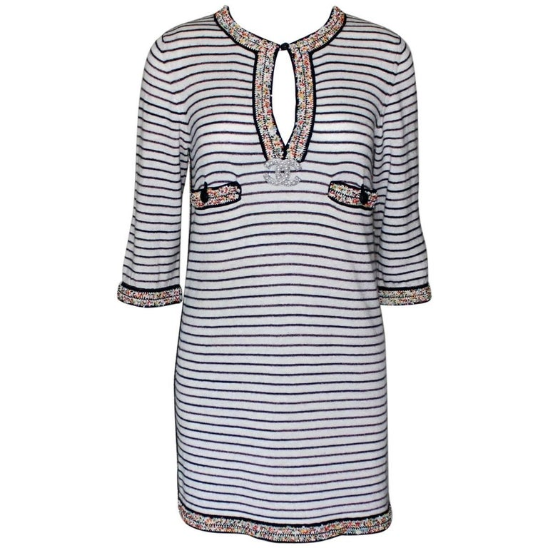 Wonderful Striped Multicolor Chanel Beaded Cashmere Mix Mini Dress  1