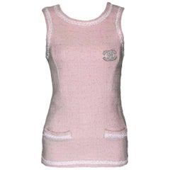 Chanel Pale Pink Lesage Fantasy Tweed Top with Fringed Trimming