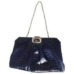 Stunning Valentino Alligator Blue and Swarovski crystals Clutch or Evening Bag