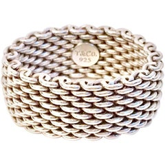 Modern Tiffany Sterling Silver Mesh Ring