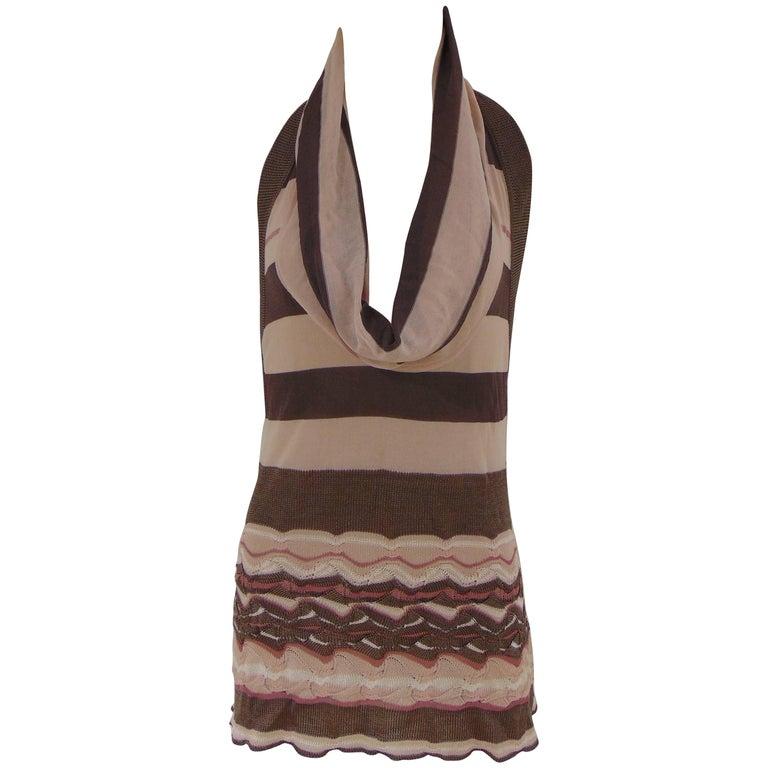 Missoni pink grey cotton/silk back naked dress
