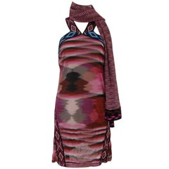 Missoni multicoloured pink dress with scarf