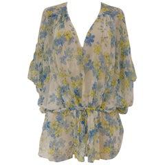 Roberto Cavalli see through flowers silk blouse
