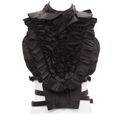 Riccardo Tisci Givenchy Runway Black Leather Ruffled Harness Top, Spring 2011