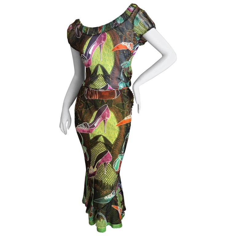 John Galliano Vintage Spring 2002 Charming Shoe Sketch Silk Dress in Two Pieces For Sale