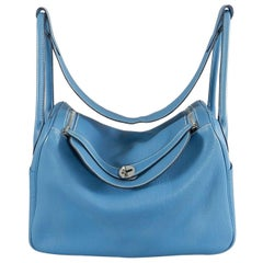 Hermes Blue Jean Clemence 34cm Lindy Bag