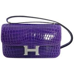 Hermes Constance Elan Ultraviolet Glazed Niloticus Crocodile Bag