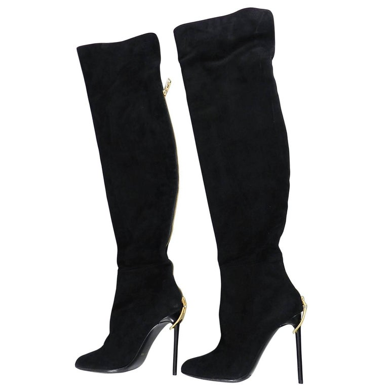 c6b679630e85 Tom Ford Over the Knee Black Suede Zipper Boots at 1stdibs