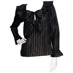 80s Yves Saint Laurent Sheer Lurex Blouse W. Ruffle Collar