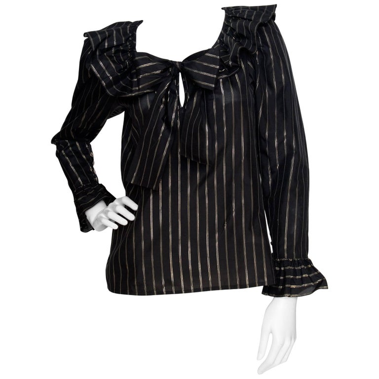 80s Yves Saint Laurent Sheer Lurex Blouse W. Ruffle Collar  1