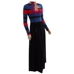 Ronald Amey Abstract Wool Dress Long Maxi 1970s Vintage Size M