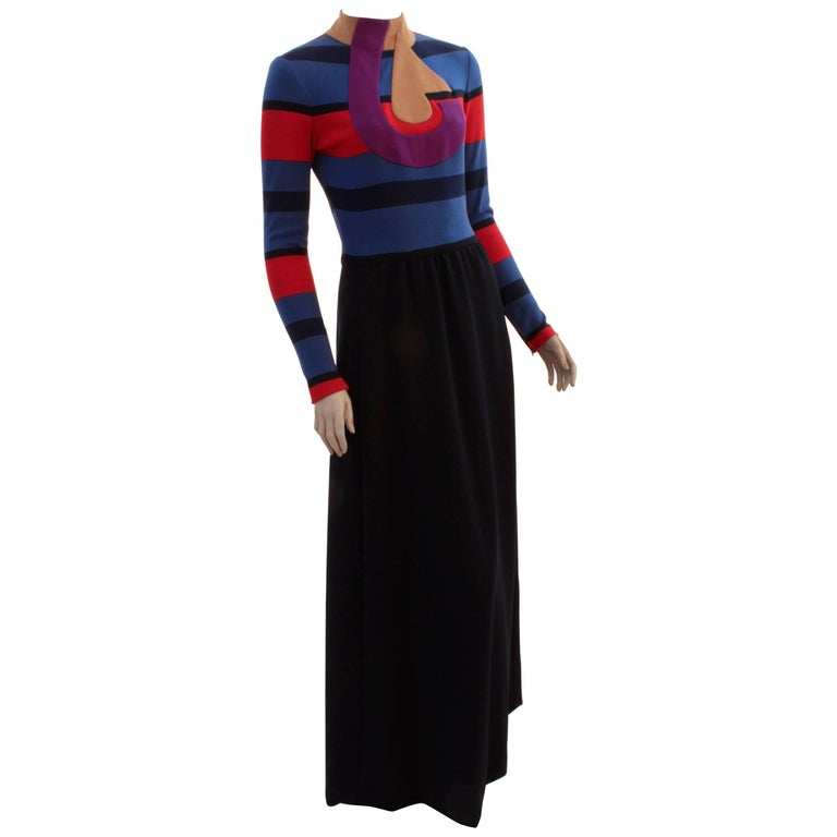 Ronald Amey Abstract Wool Dress Long Maxi 1970s Vintage Size M For Sale