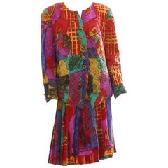 Louis Feraud Quilted Silk Jacket with Box Pleat Skirt Suit 2pc Jewel Tone US 14